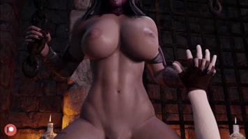Mileena from Mortal Kombat riding lechetube-hentai