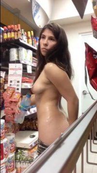 Naked girl in supermarket