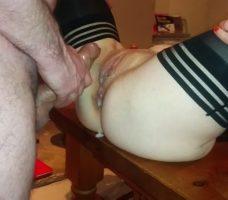Strong anal sex cumshot