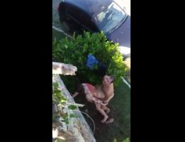 Couple caught outdoors sex