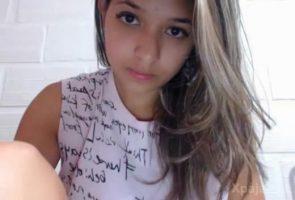 beautiful girl showing webcam