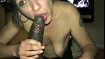 Mature sucking huge black cock