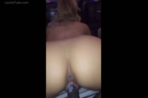 Blonde nailed riding huge cock creampie