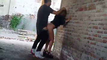 skinny caught fucking outdoor doggystyle
