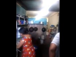 Hidden camera porn video fucking in the kitchen of the dining room