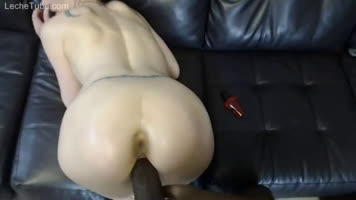 Interracial amateur porn penetrating giant cock in doggy posture