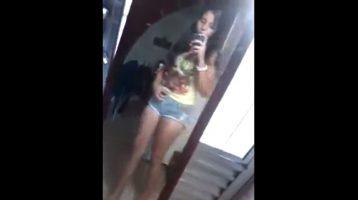 Innocent teen undressing cute pussy