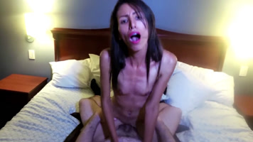 Skinny young girl with small tits moaning while being fucked