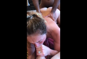 Dirty Snapchat wife has wild threesome sex with husband and