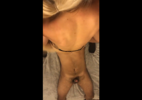 Wife sitting on lucky dudes face while giving Snapchat blowj